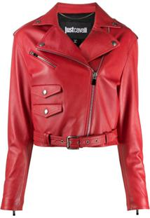 Just Cavalli Cropped Biker Jacket - Vermelho