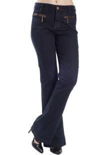 Calça Jeans Lavagem Escura Bolso Zíper Realist