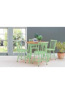 Mesa Redonda Com 4 Cadeiras De Jantar Mimo 90Cm Verniz Jatobá E Laca Verde Sálvia