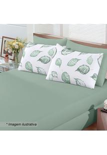 Jogo De Cama Basic Cipestre King Size- Verde & Branco