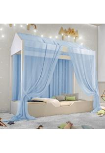 Cama Montessoriana Prime Solteiro Com Voal Azul Casah