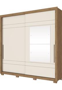 Guarda Roupa Casal Com 2 Portas De Correr Delicato-Henn - Rustico / Off White