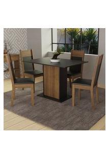 Conjunto Sala De Jantar Madesa Sheila Mesa Tampo De Madeira Com 4 Cadeiras - Rustic/Preto Preto