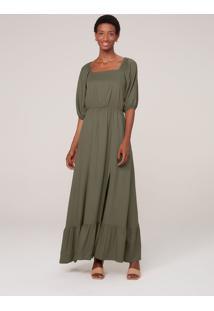 Vestido Longo Em Viscose Creponada E Mangas Bufantes - Verde