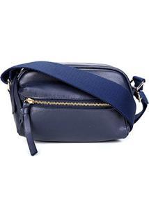 Shoulder Bag Couro Shoestock Transversal Gorgurão Feminina - Feminino-Marinho