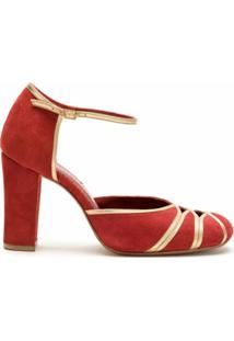 Sarah Chofakian Scarpin Pietra Camurça Com Recortes - Vermelho