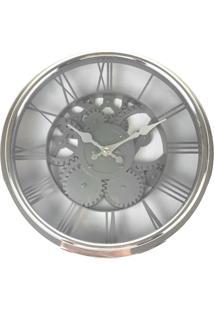 Relógio De Parede Estilo Mecânico Vintage Detalhes Prata 30X30 - Minas - Tricae