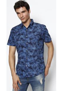 Camisa Slim Folhagens - Azul Marinho & Azul - Malweemalwee