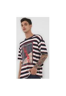 Camiseta Forum Estampada Off-White/Azul-Marinho