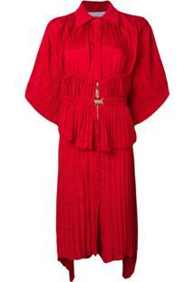 Atu Body Couture Belted Shirt Dress - Vermelho