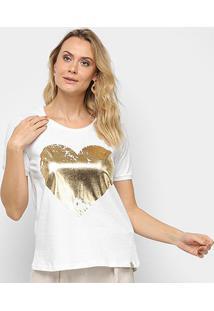 Blusa Maria Filó Coração Feminina - Feminino-Branco+Dourado
