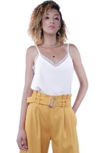 Blusa Alça Crepe Detalhe Renda Poá Pop Me Feminina - Feminino-Branco