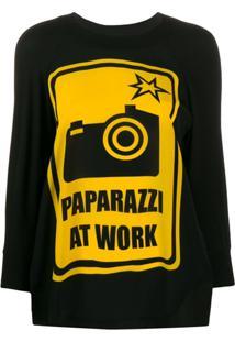 Ultràchic Blusa Com Estampa 'Paparazzi' - Preto