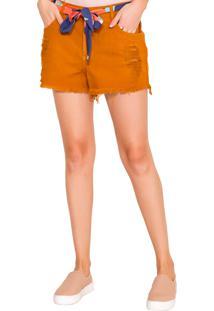 Shorts Rosa K Color Com Cinto Cáqui