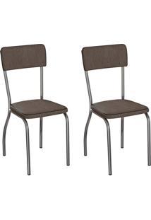 Conjunto Com 2 Cadeiras Nowra Marrom E Cromado