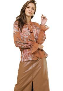 Blusa Mx Fashion Estampada Mangas Longas Martha Marrom