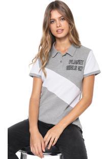 Camisa Polo Planet Girls Recortes Cinza/Branca