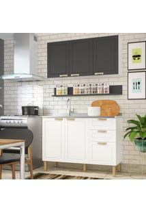 Cozinha Completa 3 Peã§As Americana Multimã³Veis 5919 Branco/Grafite - Branco/Incolor - Dafiti