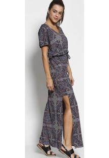 Vestido Longo Abstrato Com Fendas- Cinza Escuro & Verdeuv Line
