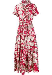La Doublej Vestido De Seda Com Estampa Lilium - Vermelho