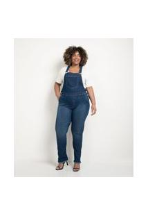 Jardineira Skinny Jeans Curve & Plus Size Azul