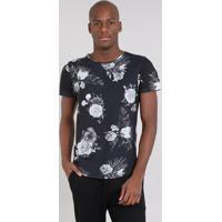 27da85c7bf Camiseta Masculina Slim Fit Estampada Floral Manga Curta Gola Careca Preta
