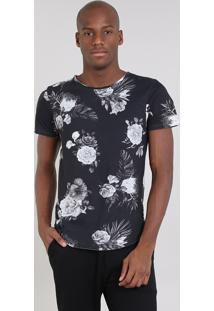 Camiseta Masculina Slim Fit Estampada Floral Manga Curta Gola Careca Preta