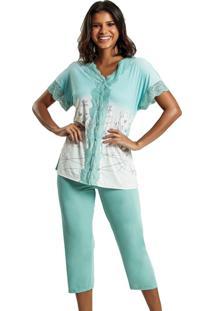 Pijama Recco Aberto Microfibra Com Renda Verde - Kanui