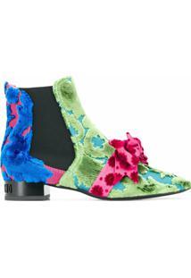 Moschino Ankle Boot Com Laço - Azul