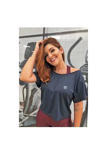 Mcf173 Camiseta Fem Cropped Ombro A Ombro Dryfit