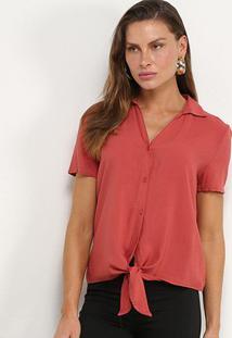 Camisa Manga Curta Facinelli Botões Amarração Nó Feminina - Feminino-Vermelho