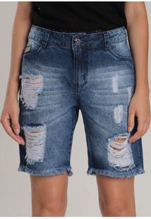 Bermuda Jeans Feminina Max Denim Boyfrien
