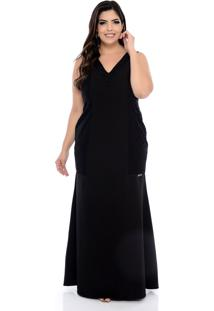 Vestido Forma Rara Plus Size Longo Sereia Com Renda Preto-58