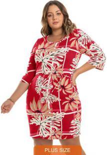 Vestido Estampado Rovitex Plus Size Vermelho