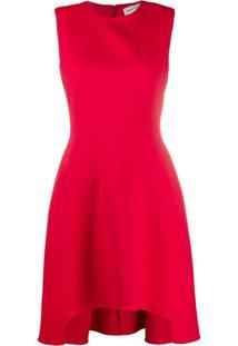 Alexander Mcqueen Vestido De Seda Com Ombros Estruturados - Vermelho
