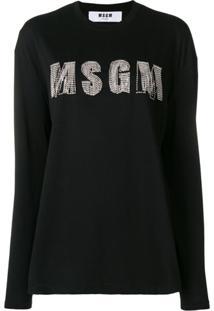 Msgm Blusa Com Logo - Preto