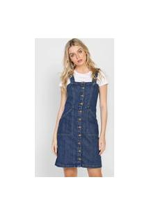 Vestido Jeans Dzarm Curto Botões Azul