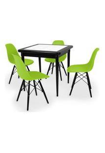Conjunto Mesa De Jantar Em Madeira Preto Prime Com Azulejo + 4 Cadeiras Eames Eiffel - Verde