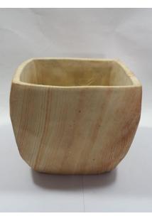 Vaso Cerâmica Médio Estilo Madeira