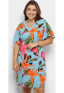 Vestido Curto Heli Plus Size Estampado Manga Curta - Feminino-Azul