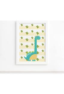 Quadro Infantil Dinossauro Baby 2 Turquesa 22X32 Moldura Branca