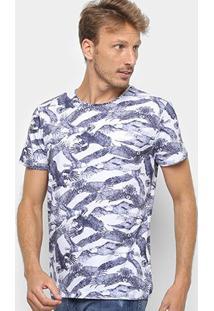 Camiseta Triton Masculino Floral Masculina - Masculino-Azul