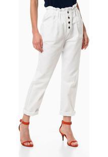 Calça Color Clochard Botões Frente - Branco - 36