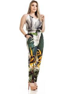 Macacão Clara Arrudatreviso Decote V Feminino - Feminino-Branco+Verde Militar
