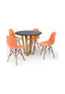 Conjunto Mesa De Jantar Lara 90Cm Preta Com 4 Cadeiras Charles Eames - Laranja