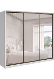 Guarda-Roupa Casal Com Espelho Spazio 3 Pt 6 Branco