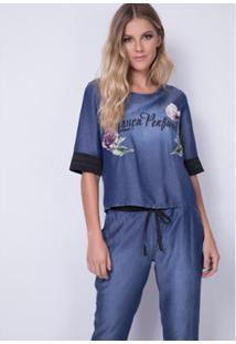 Blusa Cropped Ampla Lança Perfume - Feminino-Azul