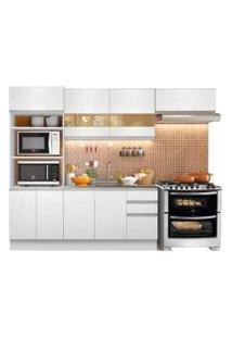 Cozinha Compacta Glamy Marselha 8 Portas 3 Gavetas Branco