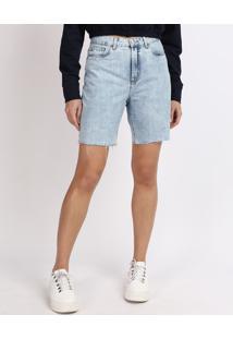 Bermuda Jeans Feminina Mindset Reta Cintura Média Com Bolsos Azul Claro
