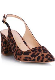 Scarpin Aberto Leopardo